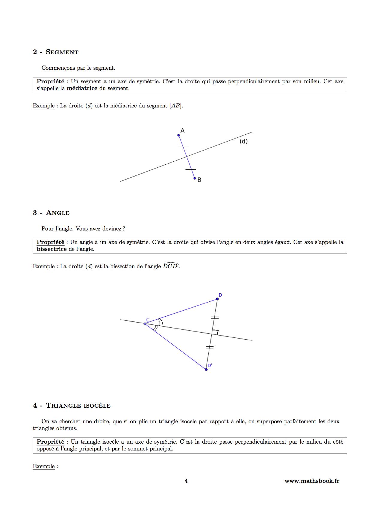 Symétrie Axiale : Cours Pdf À Imprimer | Maths 6Ème dedans Symétrie A Imprimer