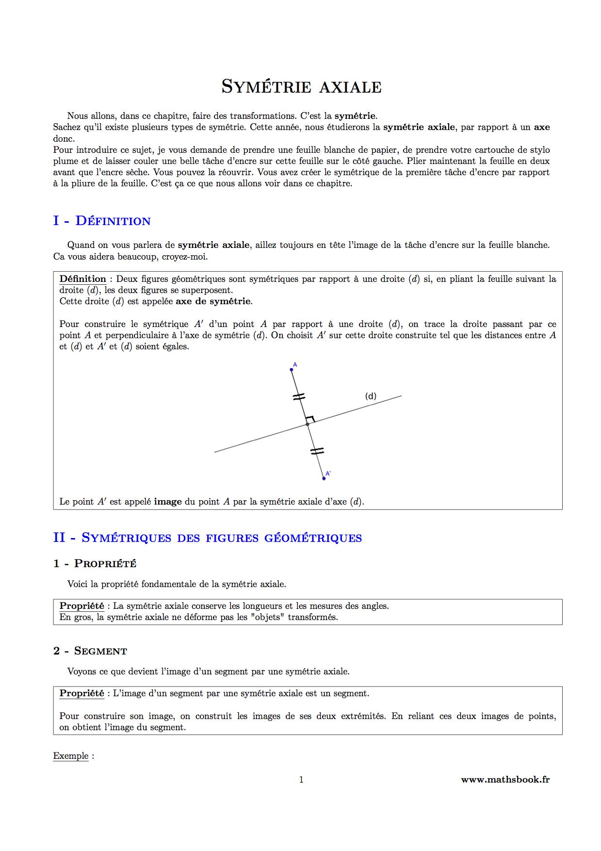 Symétrie Axiale : Cours Pdf À Imprimer | Maths 6Ème destiné Symetrie Axial