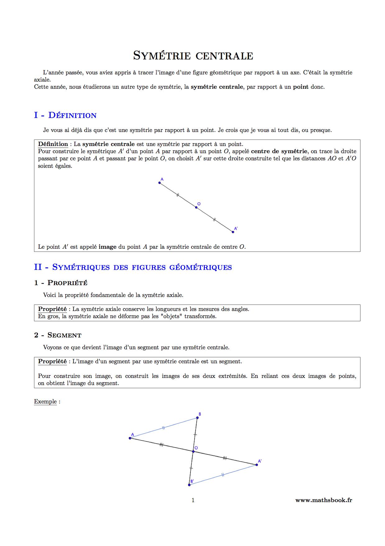 Symétrie Centrale : Cours Pdf À Imprimer | Maths 5Ème tout Symétrie A Imprimer