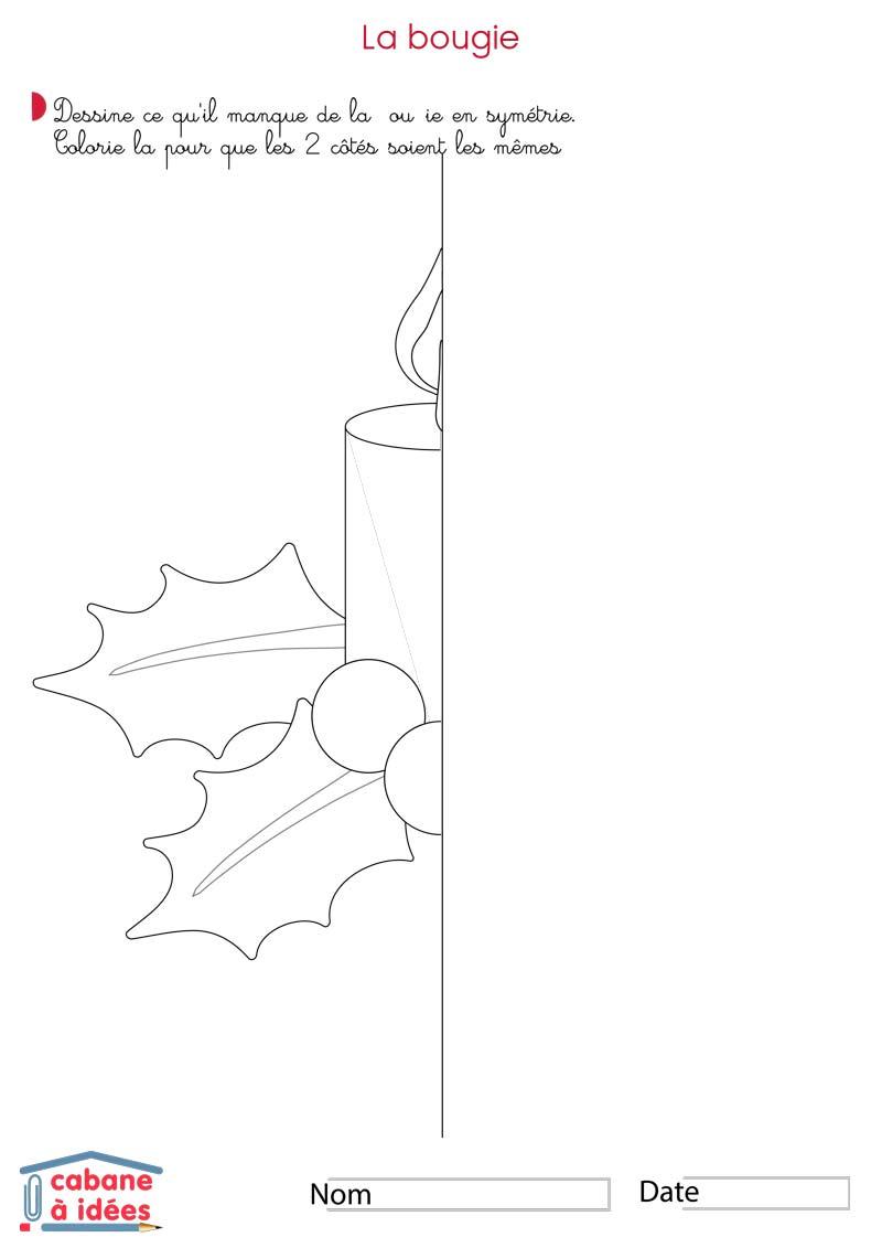 Symétrie De Noël - Cabane À Idées destiné Dessin Symétrique A Imprimer