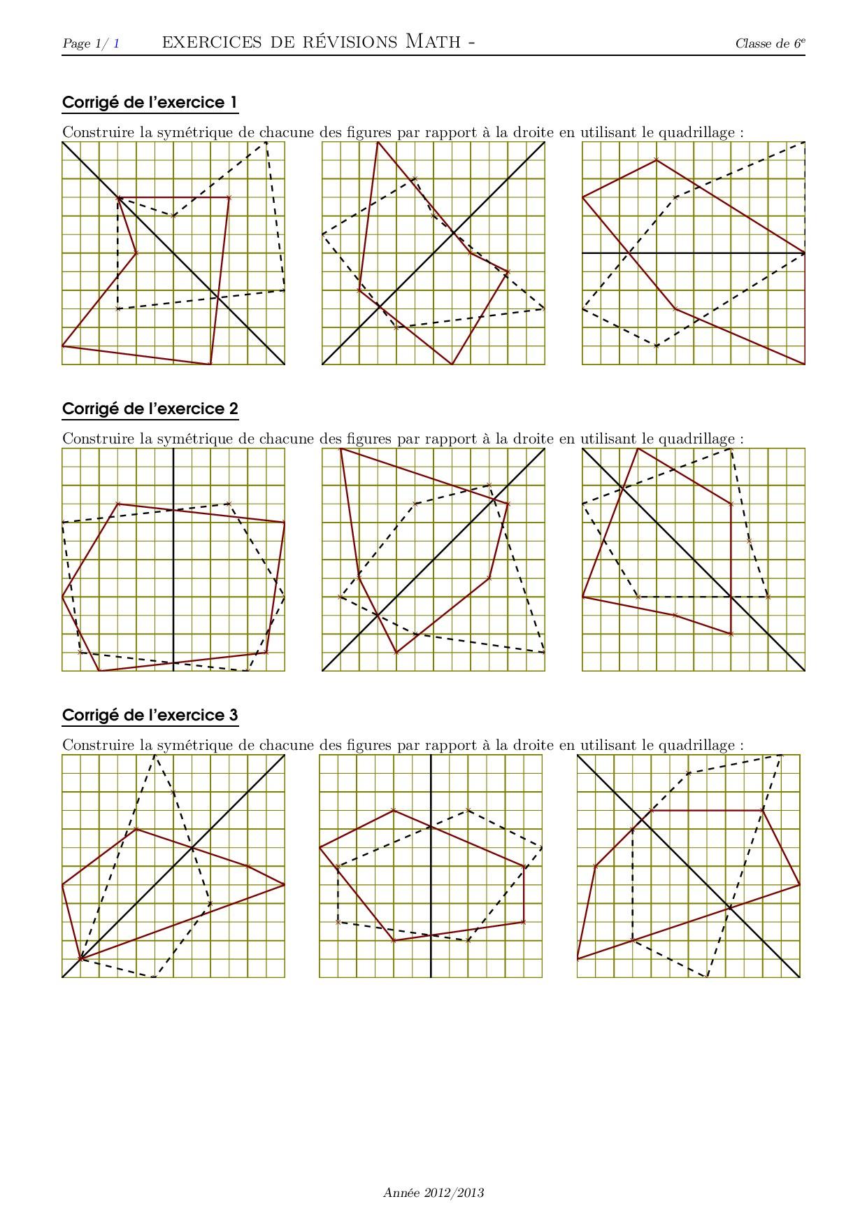 Symétrie Et Quadrillage - Corrigé Série D'exercices 1 concernant Symétrie Quadrillage