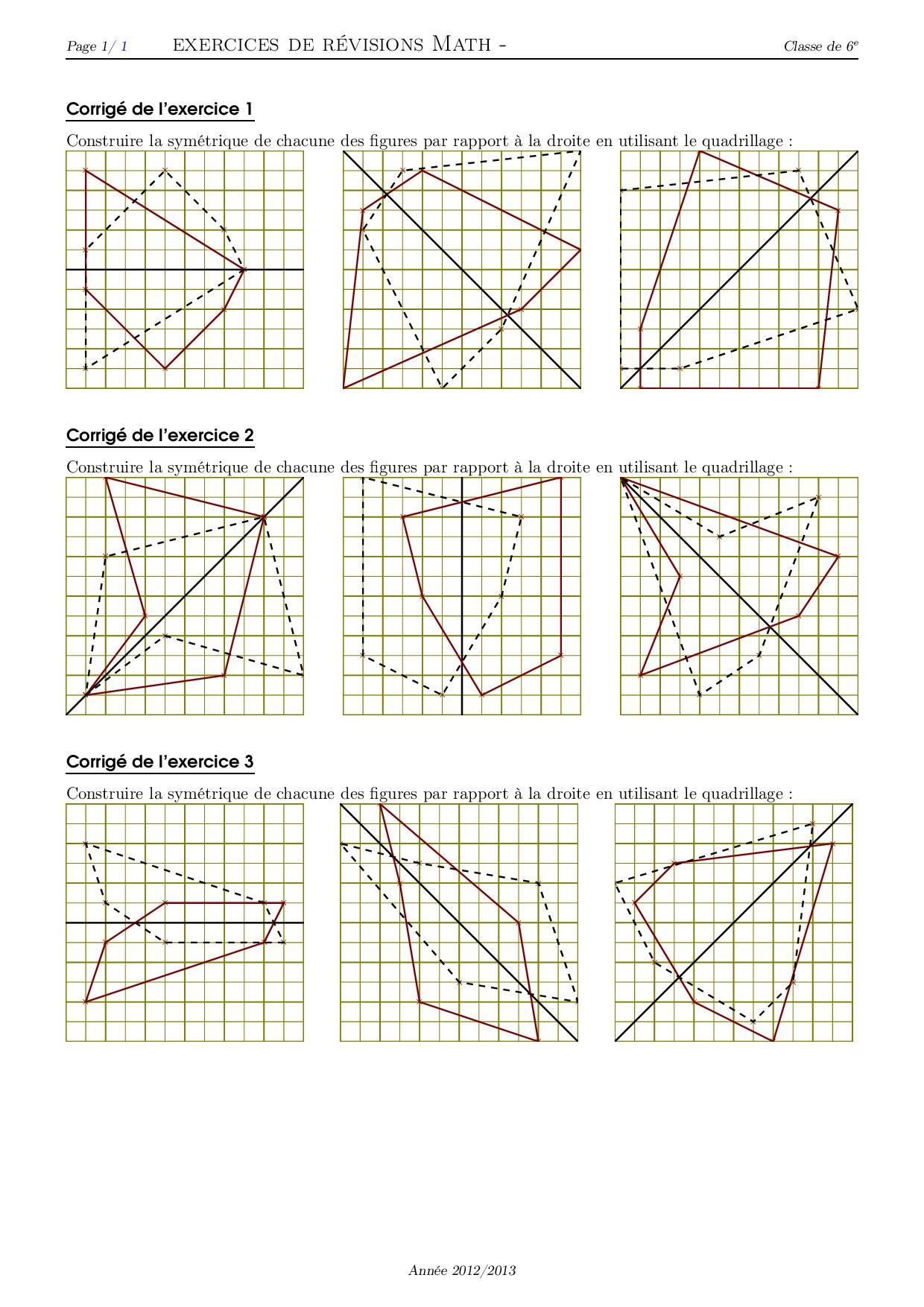 Symétrie Et Quadrillage - Série D'exercices 3 - Alloschool avec Symétrie Quadrillage