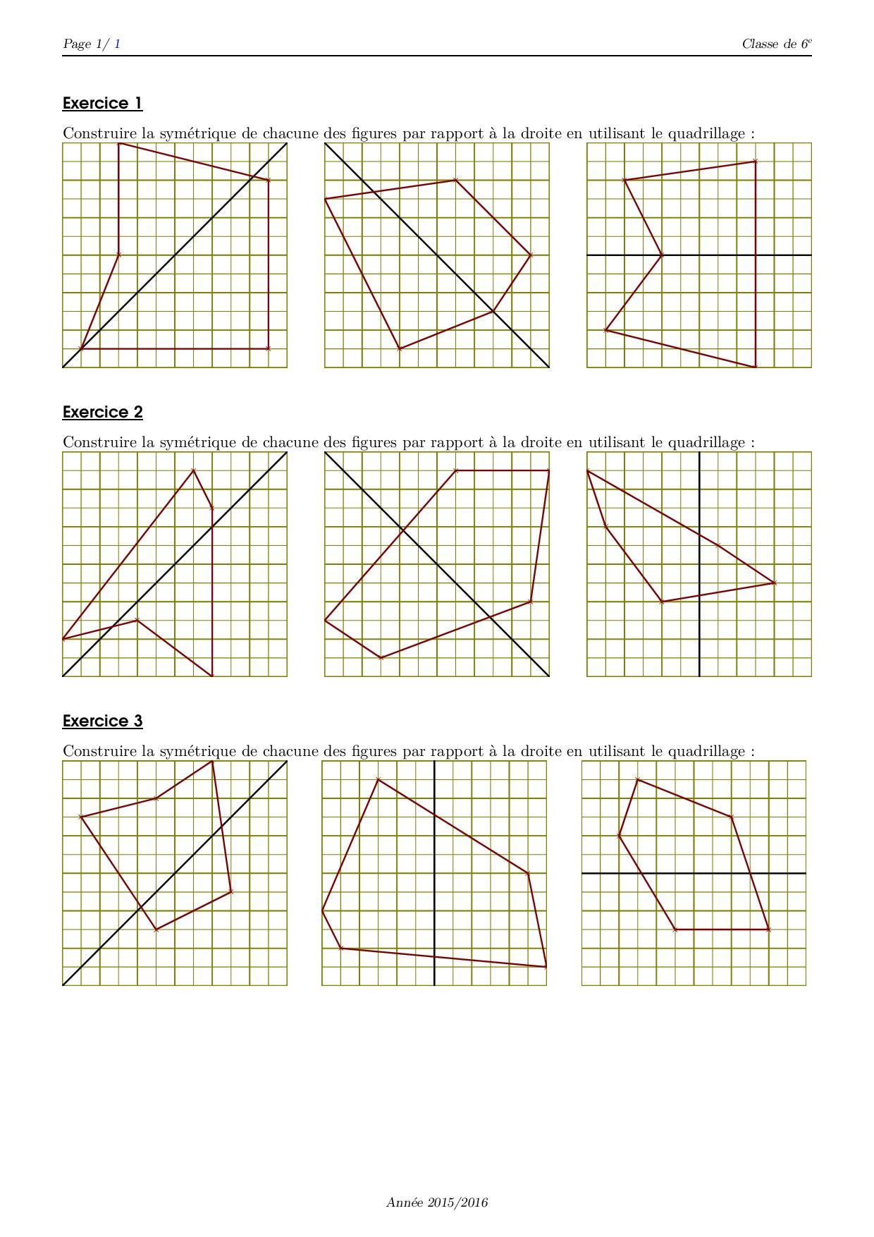 Symétrie Et Quadrillage - Série D'exercices 4 - Alloschool pour Symétrie Quadrillage