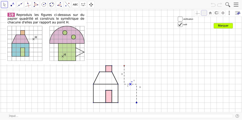 Symétrique Maison Champignon Outil Quadrillage – Geogebra intérieur Symétrie Quadrillage