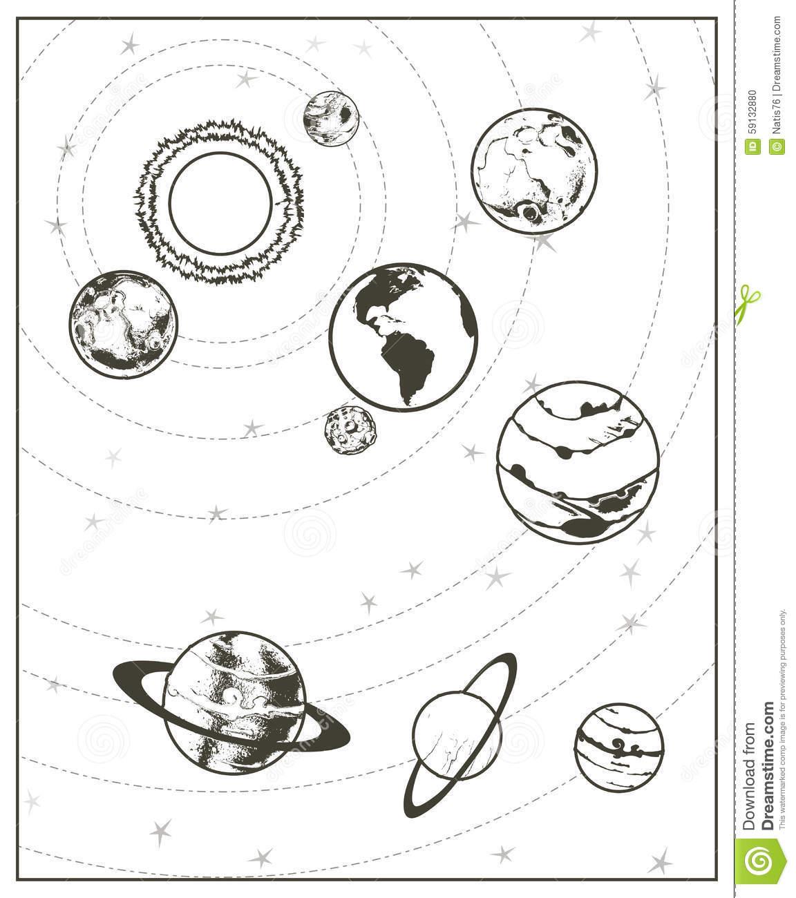 Système Solaire De Dessin Noir Illustration De Vecteur encequiconcerne Dessin Du Système Solaire
