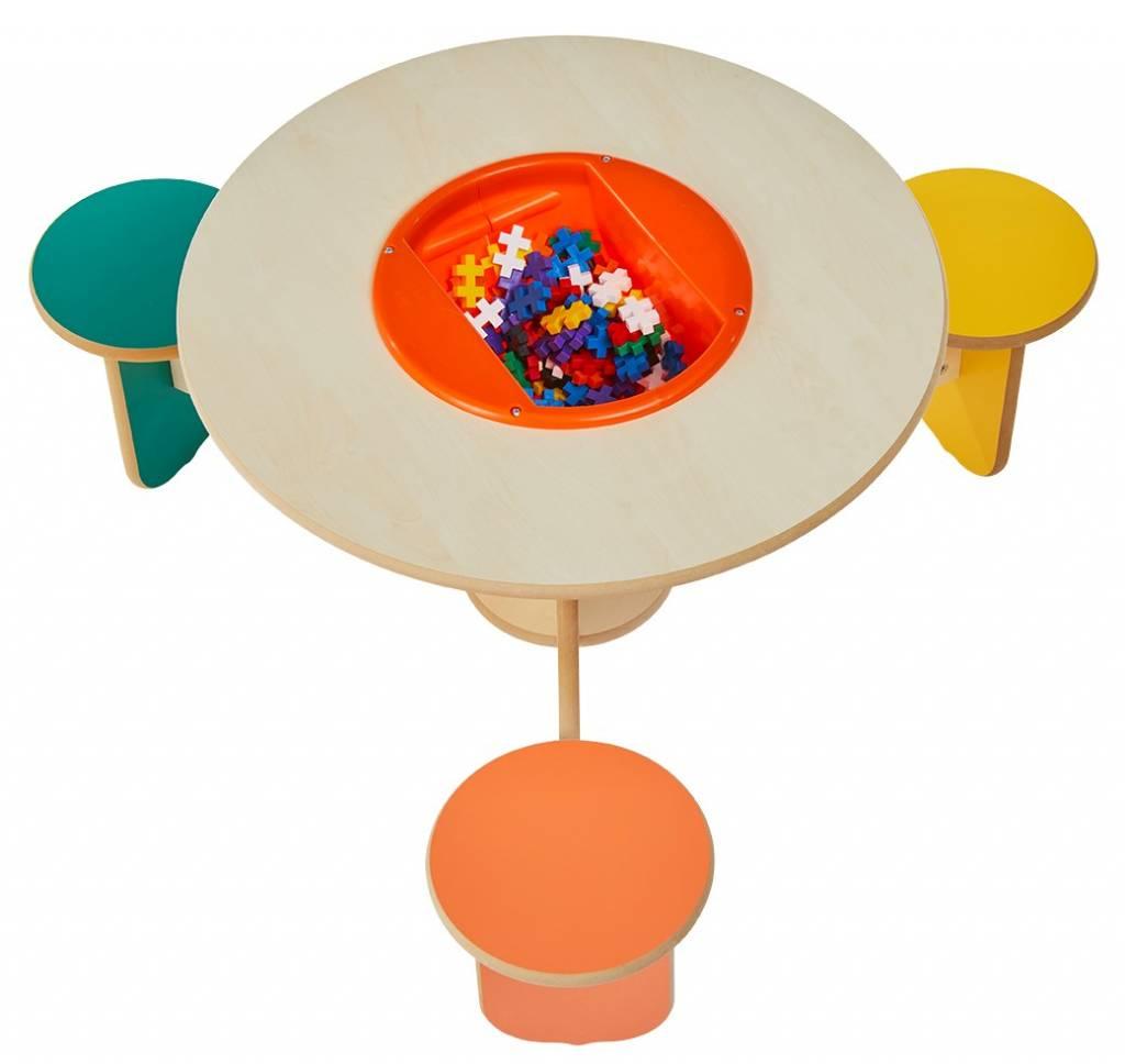 Table De Jeu Ludique Avec 3 Chaises Et Bac Pour Ranger Les Briques concernant Jeux Ludique Pour Enfant