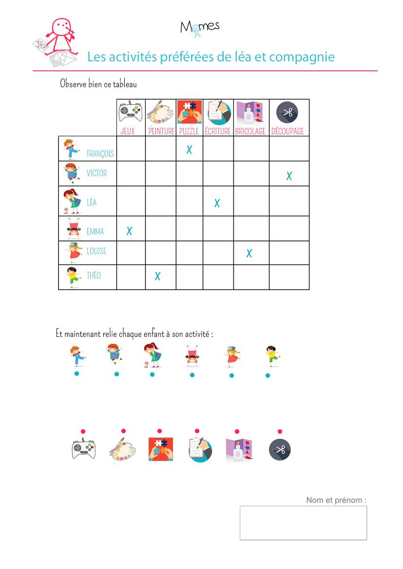 Tableau À Double Entrée : Exercice - Momes destiné Activite Pour Maternelle Imprimer