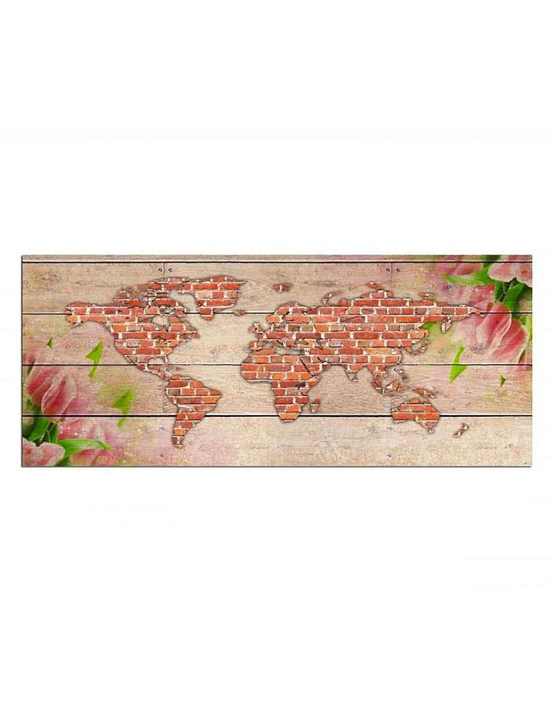 Tableau Carte De La Brique World 50 X 20 Cm pour Casse Brique Gratuit En Ligne