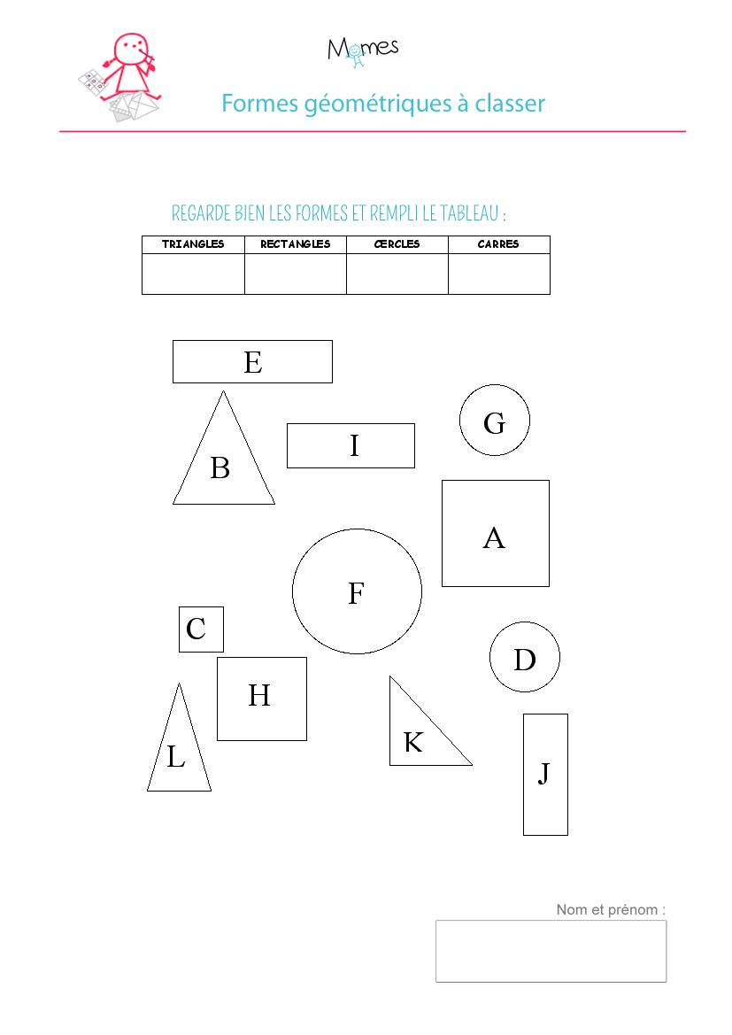 Tableau Des Formes Géométriques: Exercice - Momes tout Les Formes Geometrique