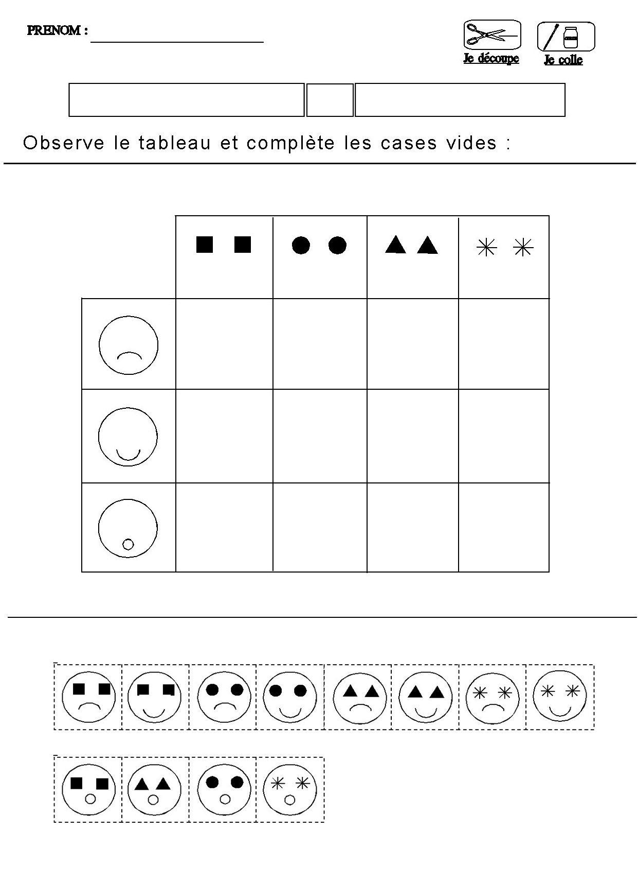 Tableau Double Entrees Pour Maternelle Moyenne Section à Exercice Pour Maternelle Petite Section
