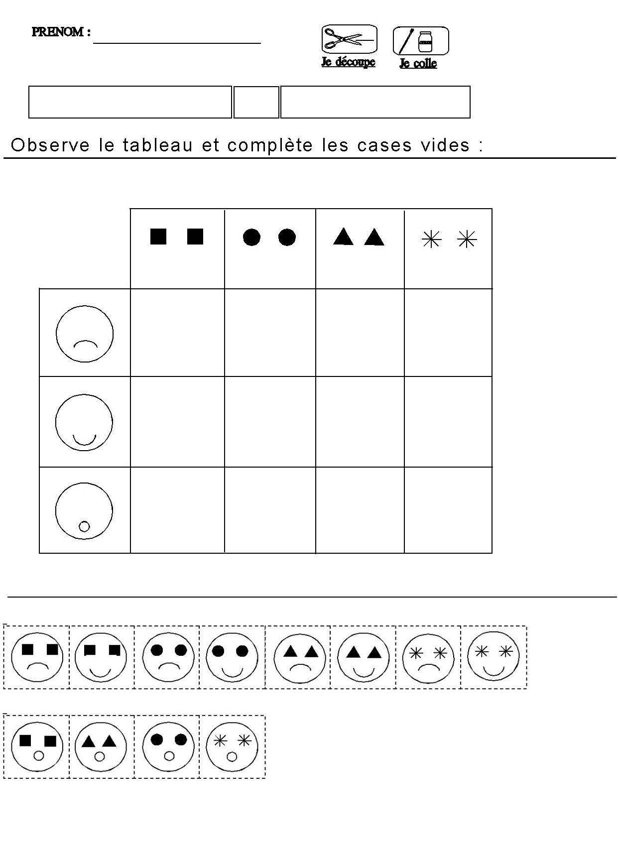 Tableau Double Entrees Pour Maternelle Moyenne Section avec Exercice Maternelle Moyenne Section