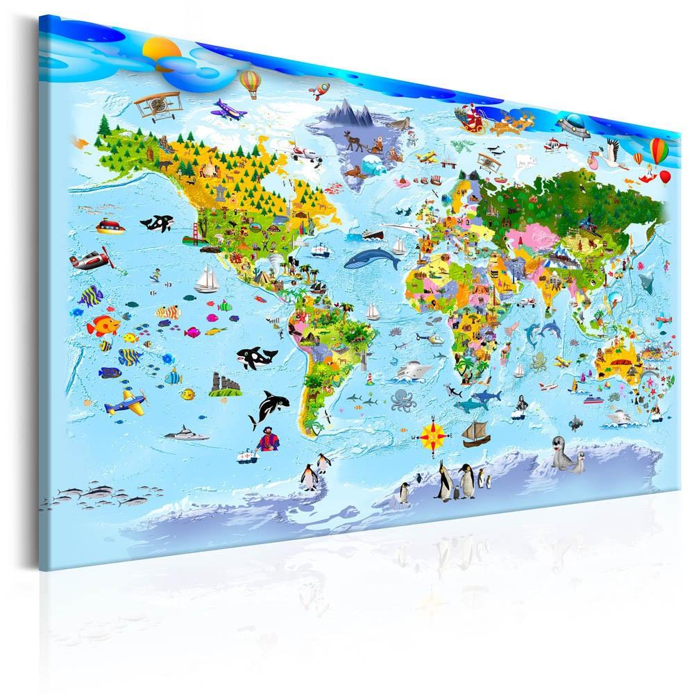 Tableau Imprimé Carte Du Monde Enfant Dessins Multicolores pour Carte Du Monde Enfant