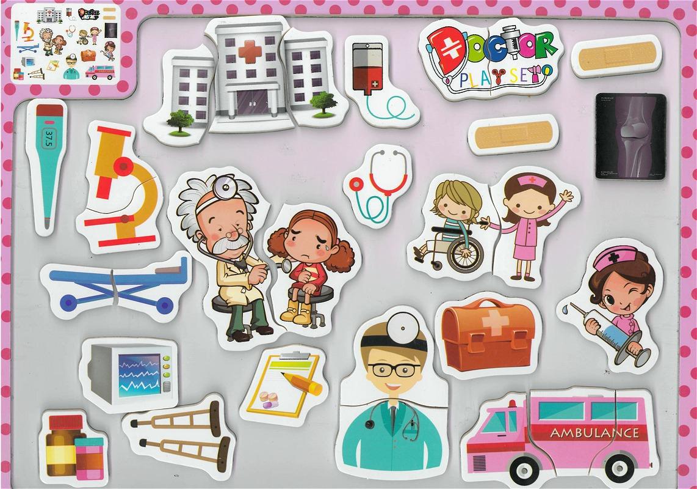 Tableau-Puzzle En Bois Éducatif Forme - L'Hôpital Et Le Monde De La Médecine serapportantà Puzzle Enfant En Ligne