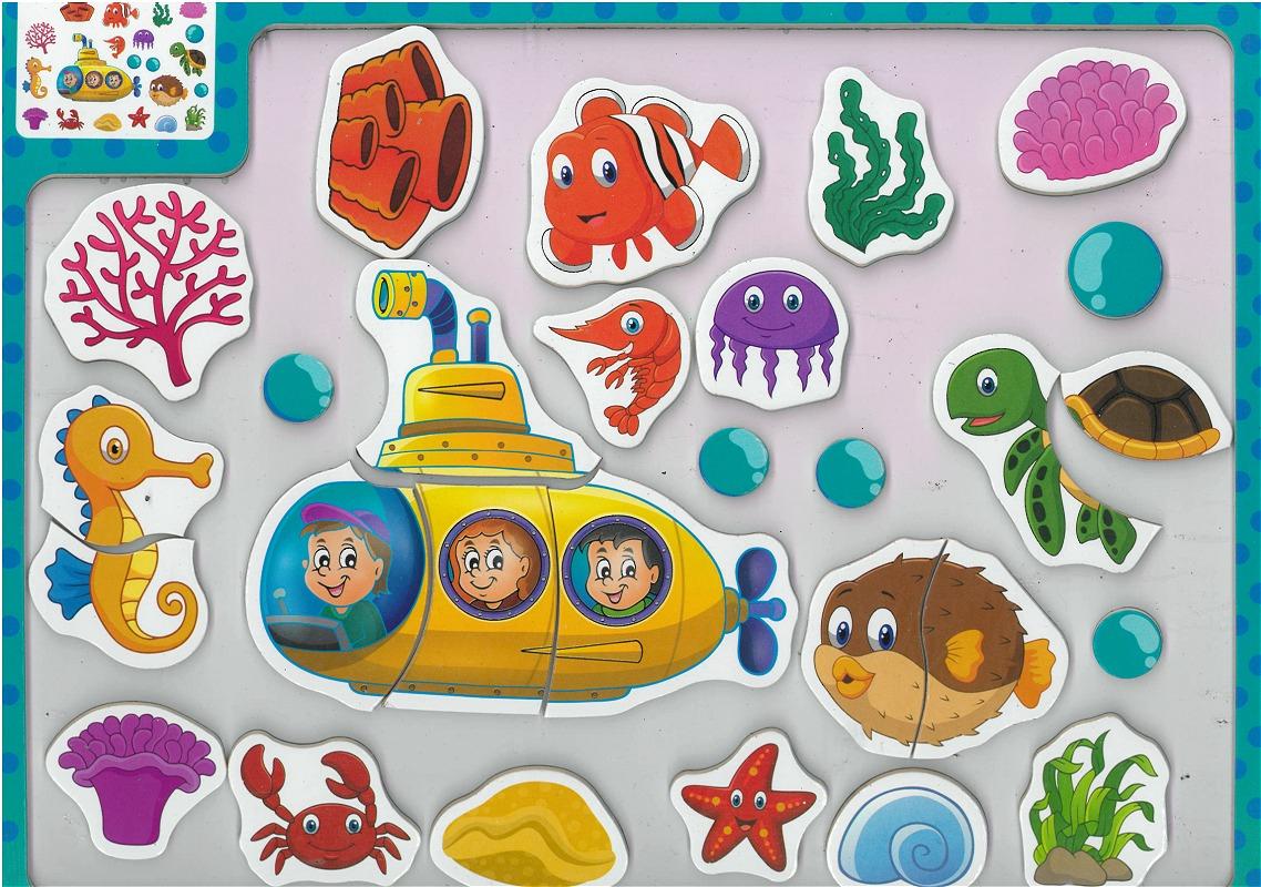 """Tableau-Puzzle En Bois Éducatif """"le Monde Sous-Marin"""" pour Puzzle En Ligne Enfant"""