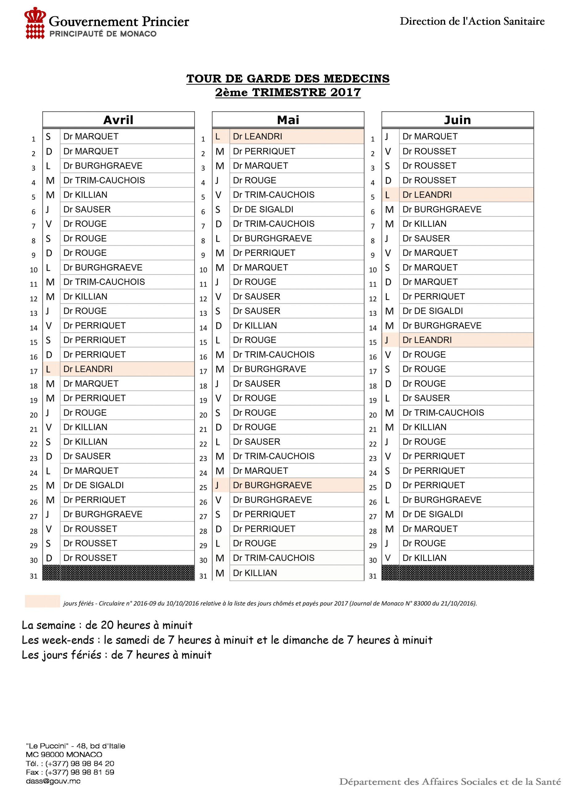 Tableau Tour De Garde Médecins 2Ème Trimestre 2017 - Chpg concernant Tableau Des Départements Français