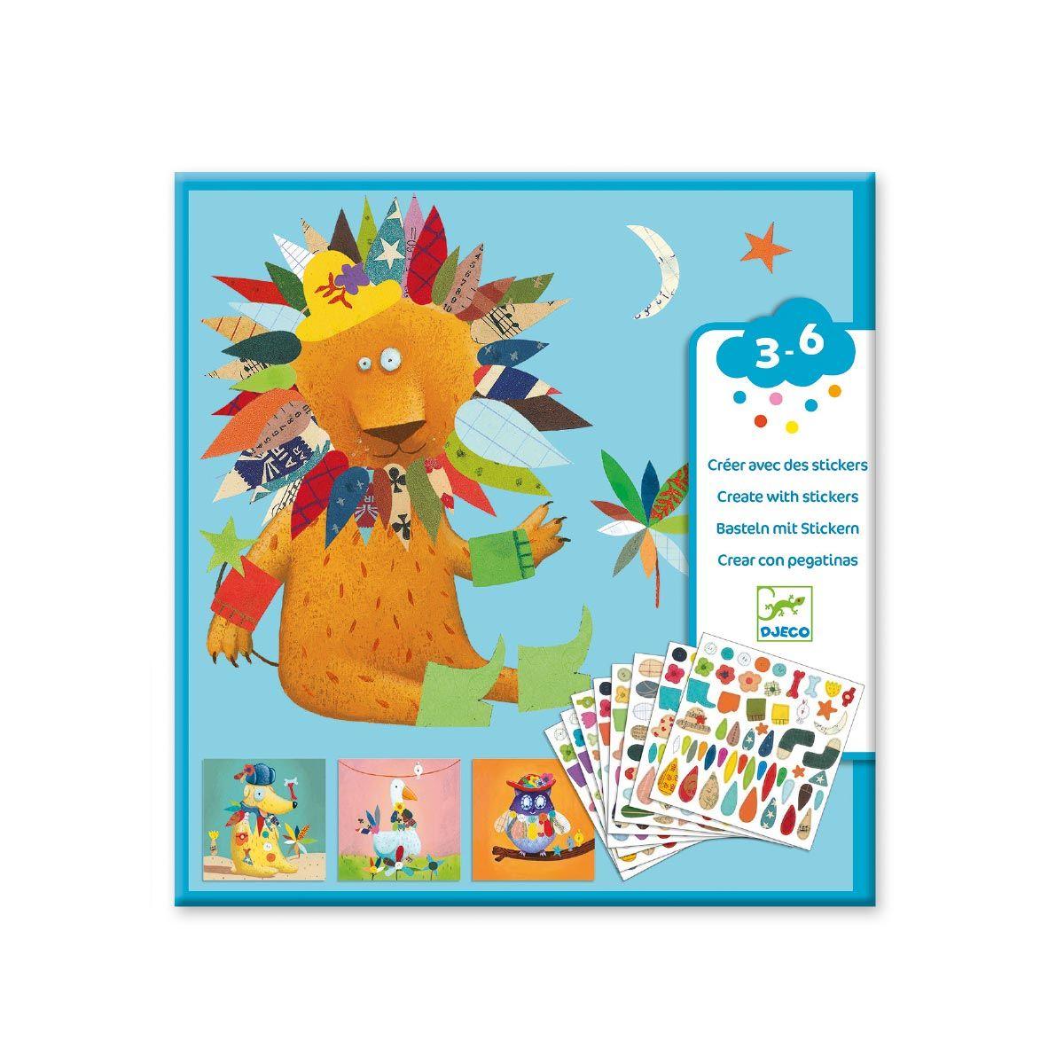 Tableaux Créer Avec Des Stickers Animaux Djeco | Stickers avec Jeux Pour Petit De 3 Ans