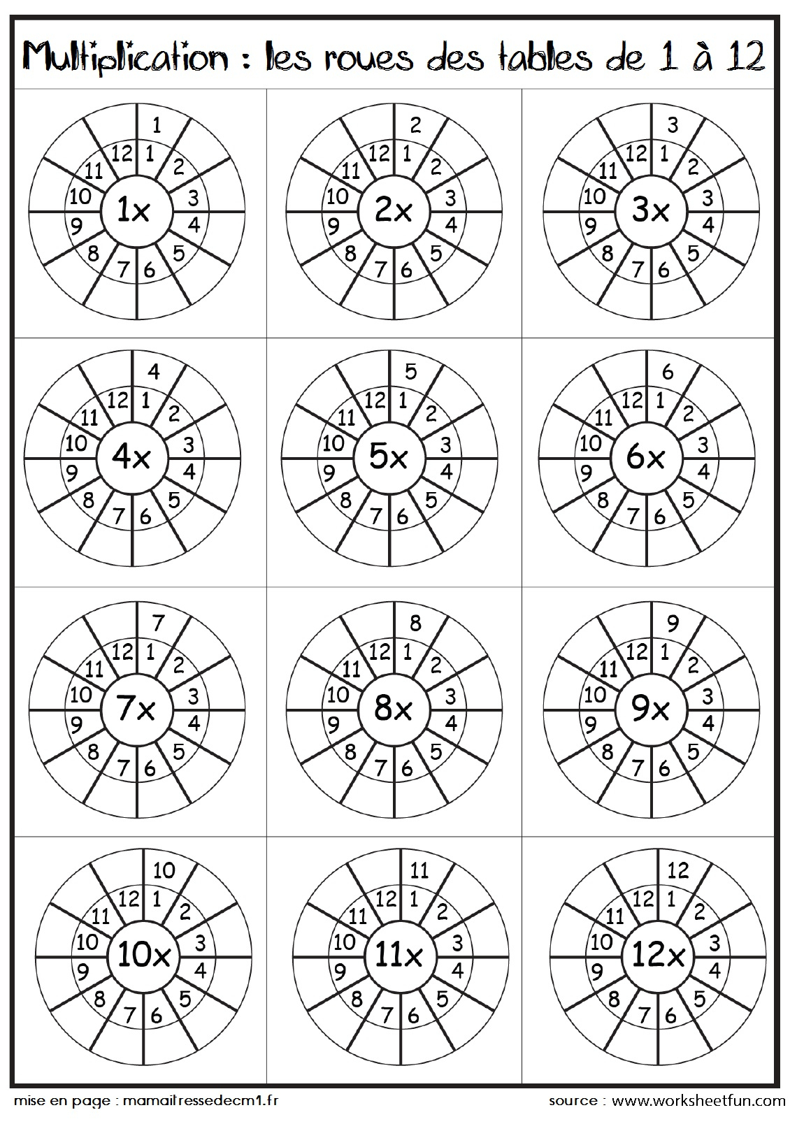 Tables De Multiplications | Ma Maitresse De Cm1-Cm2 dedans Tables De Multiplication Jeux À Imprimer