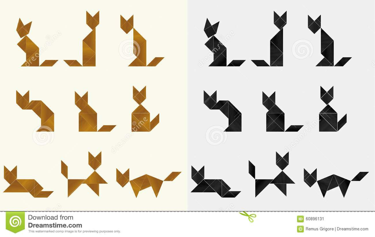 Tangram Cats - Cdr Format Stock Vector. Illustration Of destiné Tangram Chat