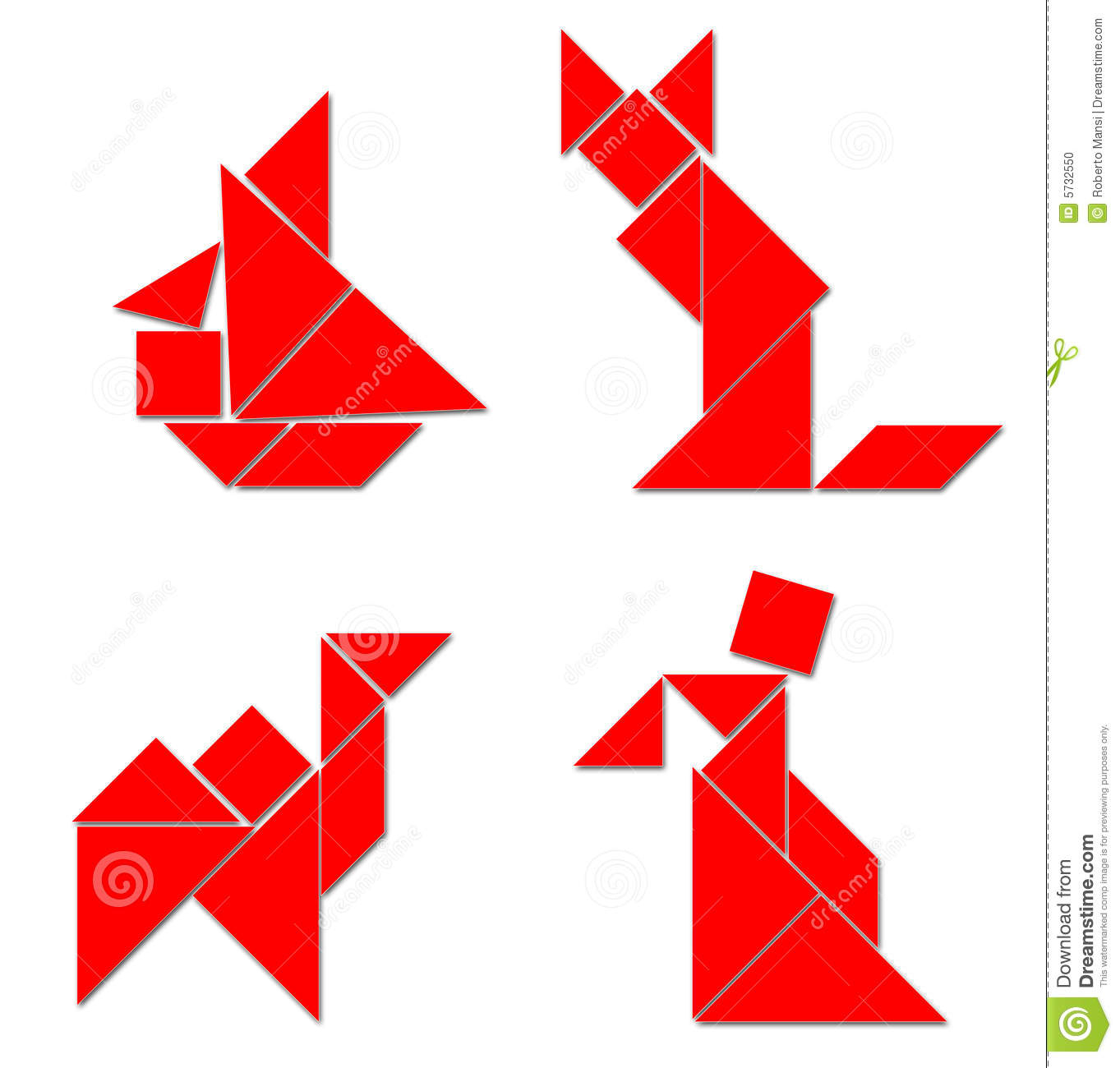Tangram Classique - Divers Élém. Illustration Stock destiné Dessin Tangram