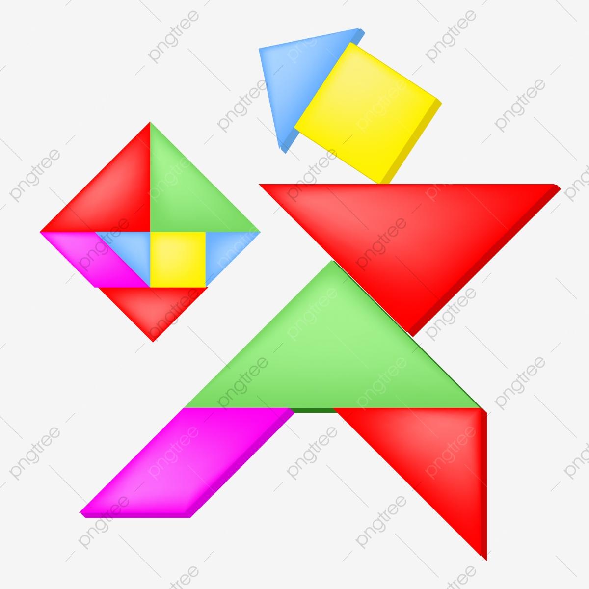 Tangram Couleur Jeu Géométrique Illustration, De, Couleur à Tangram À Découper