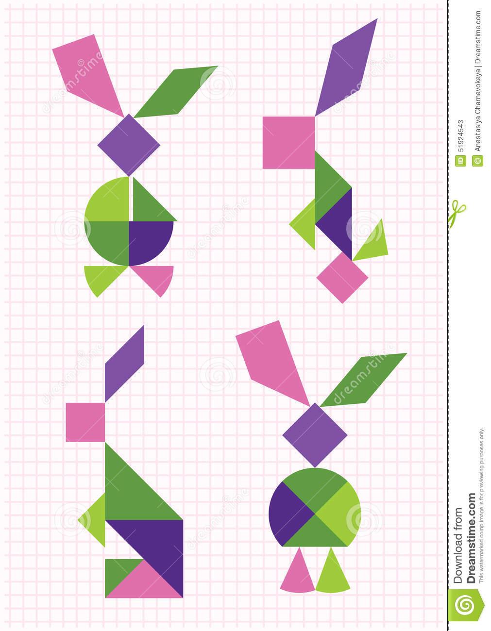 Tangram De Lièvres Et De Lapins Illustration De Vecteur concernant Tangram Lapin