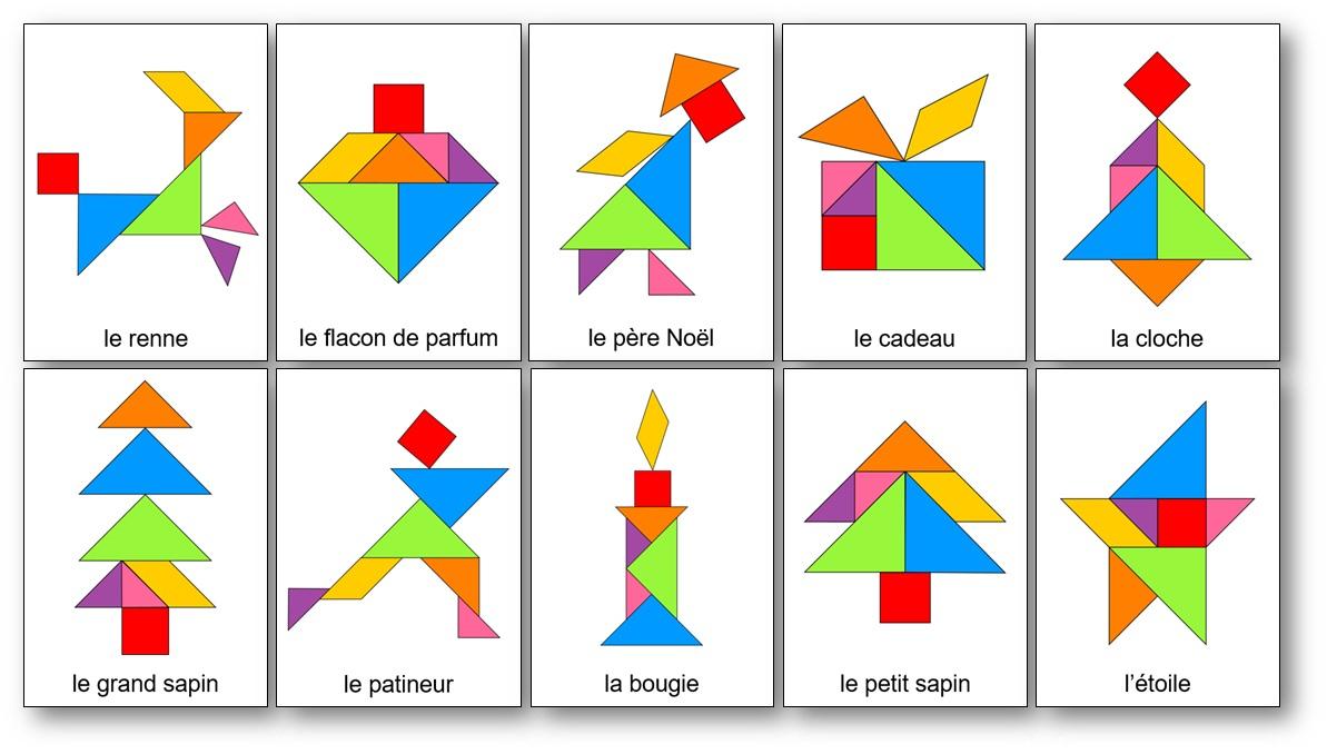Tangram De Noël : 14 Modèles À Imprimer - Tangram De Noël À dedans Tangram Moyenne Section