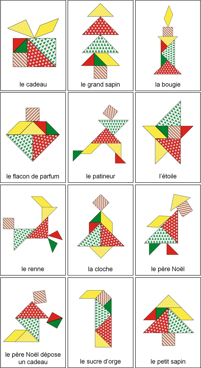 Tangram De Noël : 14 Modèles À Imprimer - Tangram De Noël À pour Jeux De Tangram Gratuit