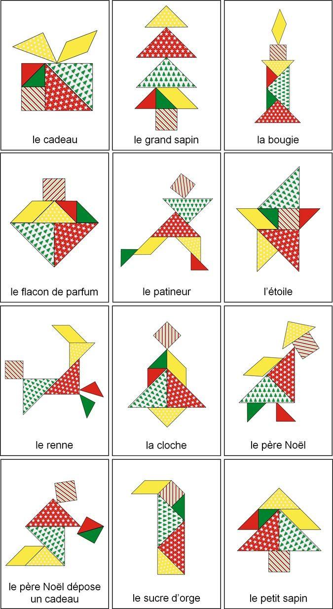Tangram De Noël : 14 Modèles À Imprimer - Tangram De Noël À tout Dessin Tangram