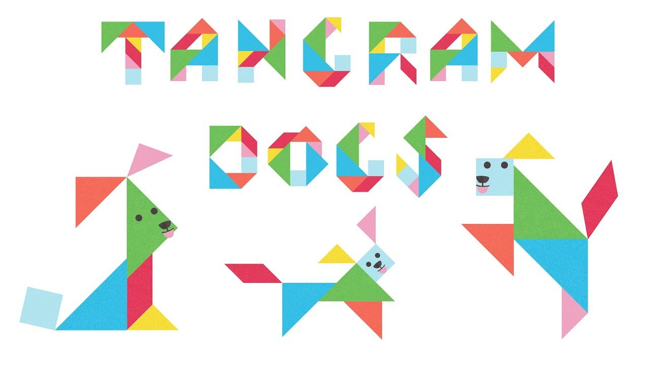 Tangram Dogs Puzzle For Kids - 18 Cute Dogs Made From Tangram Puzzle Pieces encequiconcerne Tangram Simple
