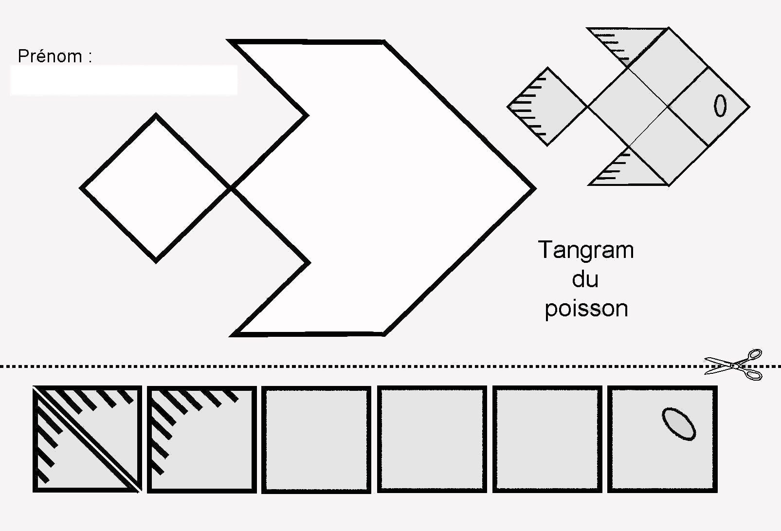 Tangram Du Poisson : Figures Et Pièces Pour Maternelle tout Pièces Tangram