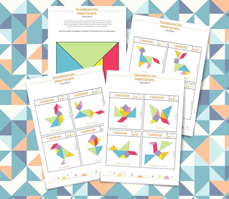 Tangram Du Printemps - Modèles À Télécharger Gratuitement tout Modèle Tangram À Imprimer