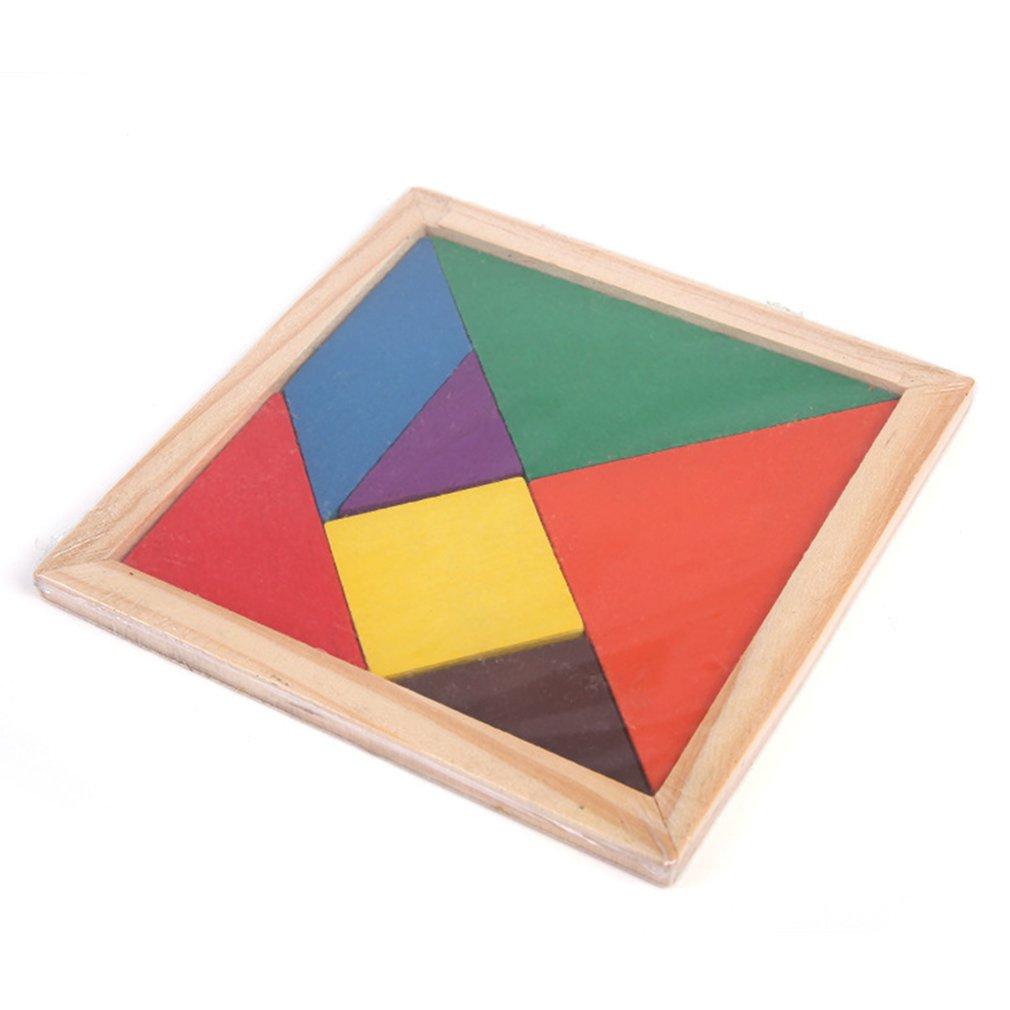 Tangram En Bois 7 Pièces Puzzle Forme Géométrique Coloré pour Tangram Carré