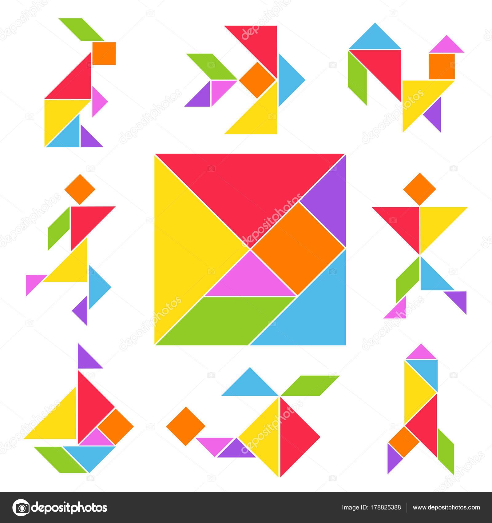 Tangram Game Set — Stock Vector © Axsimen #178825388 destiné Tangram Chat