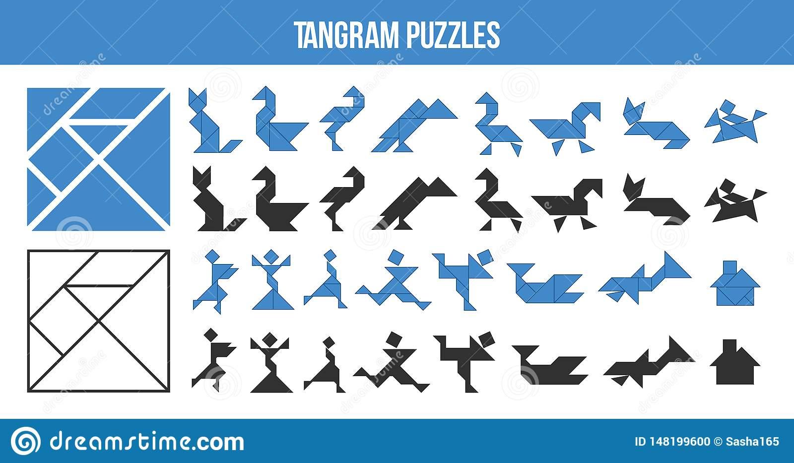 Tangram Imprimable, Jeu De Puzzle Placez Des Formes Pour L concernant Tangram Enfant