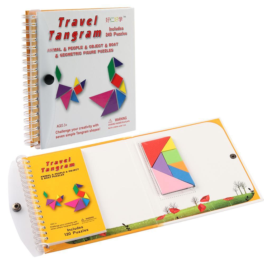 Tangram Magnétique Voyage Puzzles Livre Jeu De Tangrams Tangos Défi Iq  Jouet Éducatif avec Tangram Modèles Et Solutions