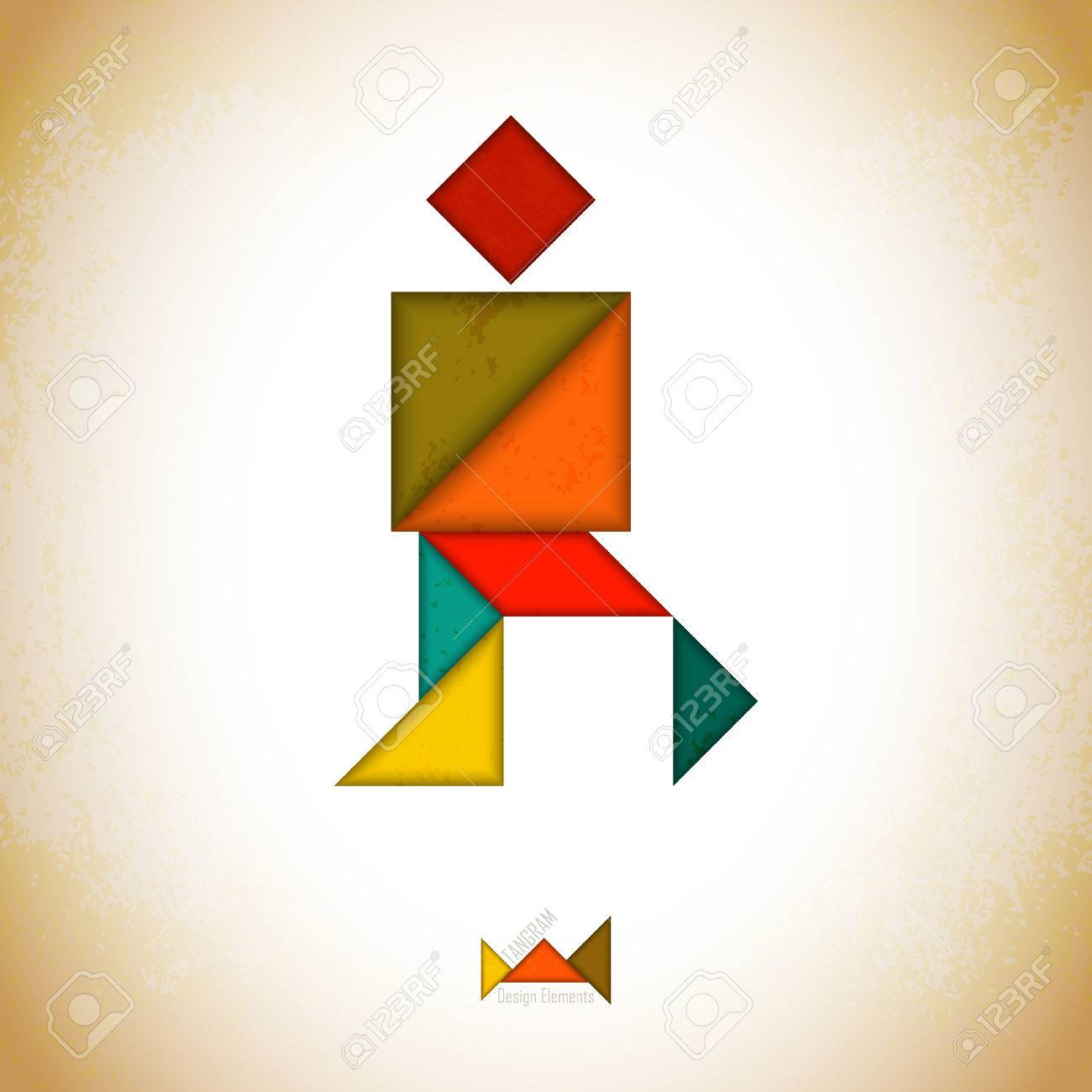 Tangram People, L Made Of Tangram Pieces, Geometric Shapes. Traditional  Chinese Puzzle Tangram Solution Card, Learning Game For Kids, Children. destiné Pièces Tangram