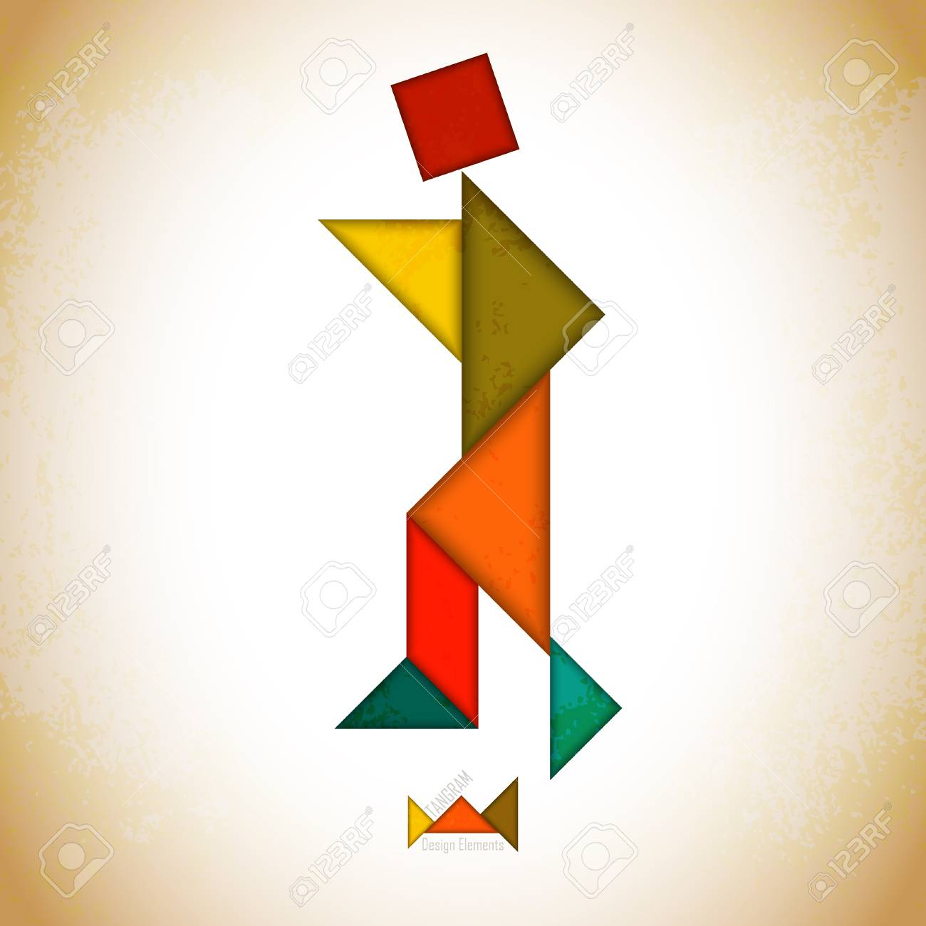 Tangram People, L Made Of Tangram Pieces, Geometric Shapes. Traditional.. encequiconcerne Tangram Simple