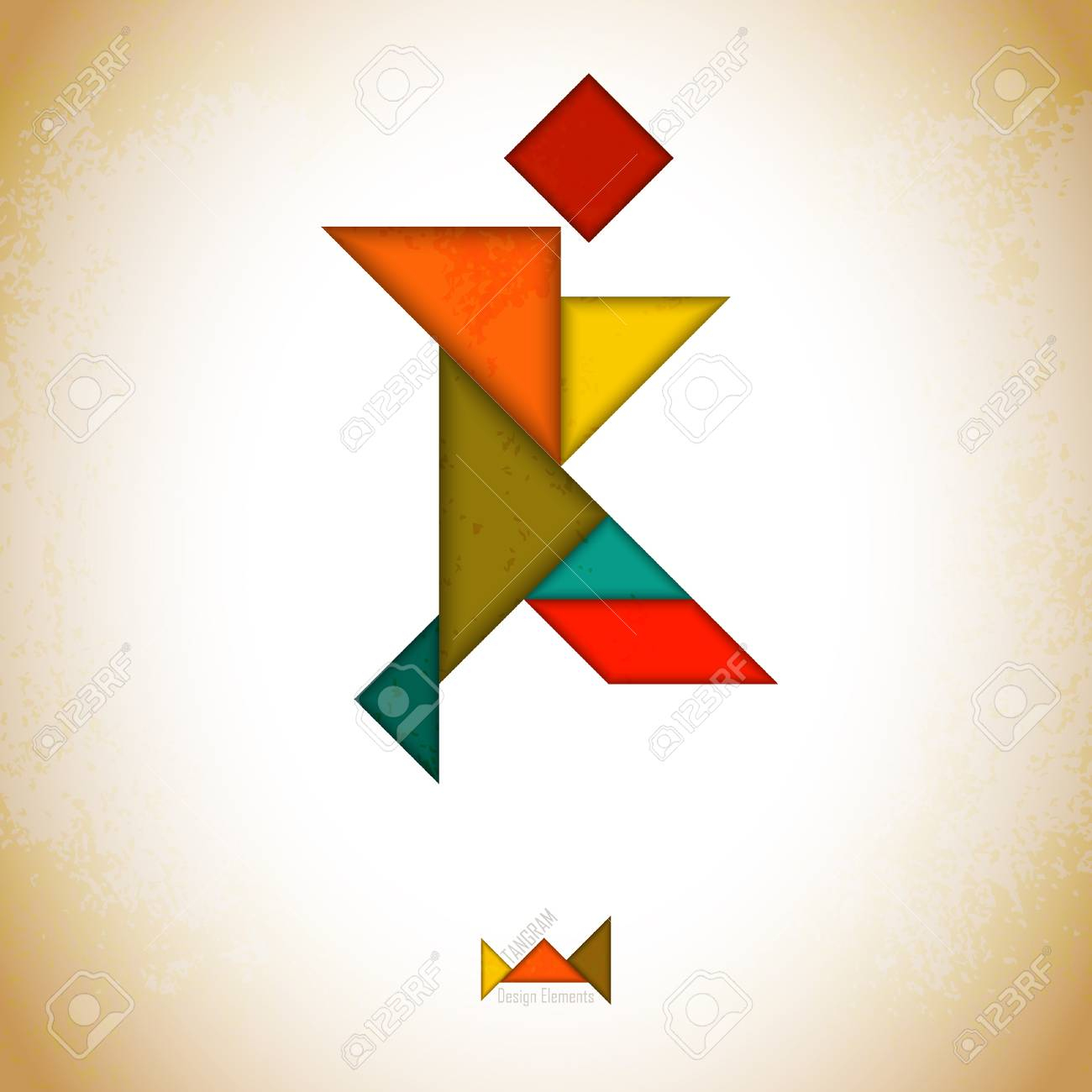 Tangram People, L Made Of Tangram Pieces, Geometric Shapes. Traditional.. pour Tangram Simple