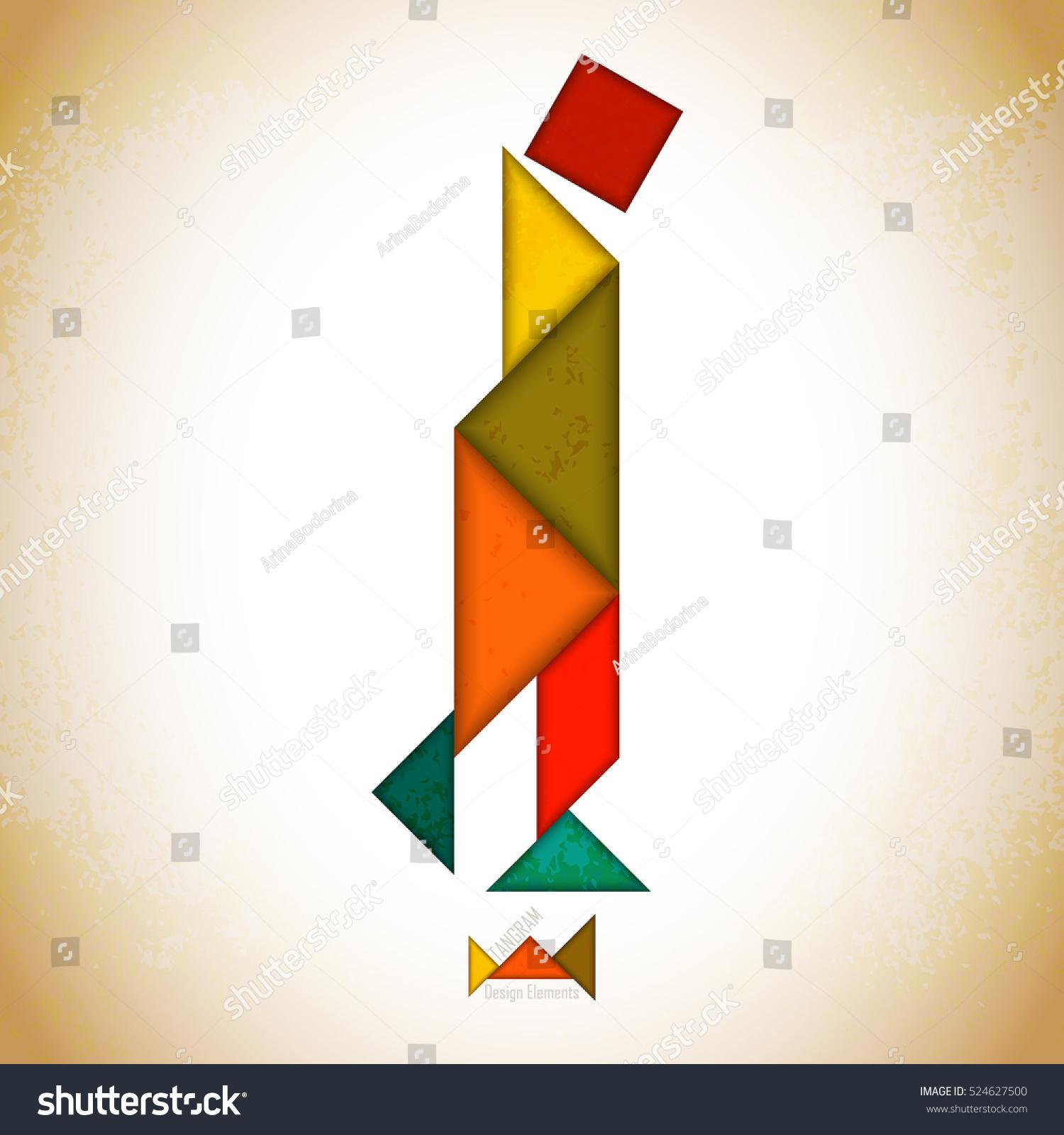 Tangram Peoplel Made Tangram Pieces Geometric Stock Vector intérieur Pièces Tangram