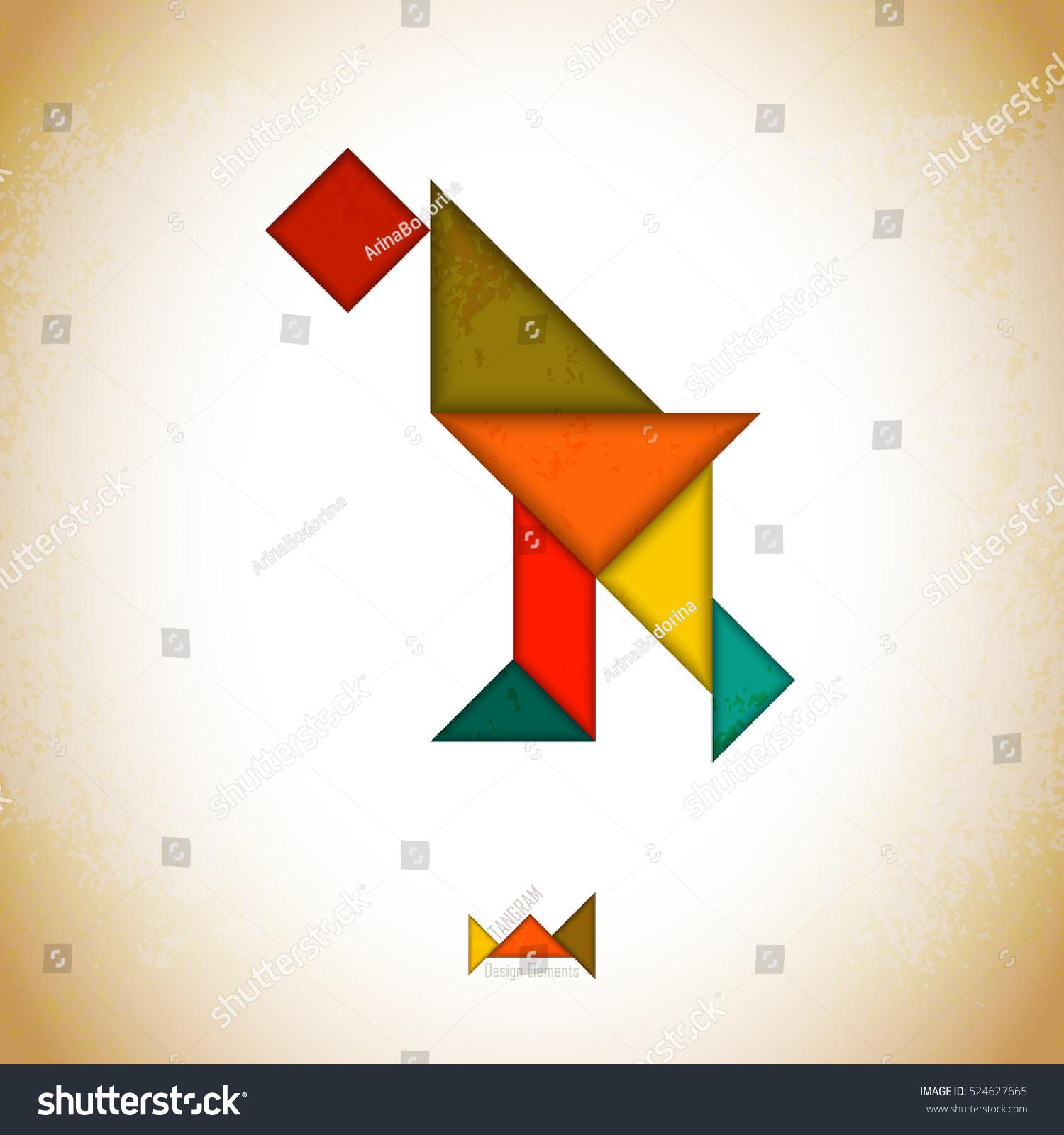 Tangram Peoplel Made Tangram Pieces Geometric Stock Vector tout Pièces Tangram
