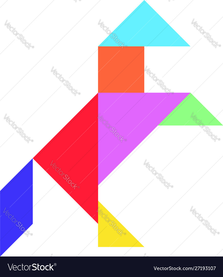 Tangram Puzzle In Horse Shape On White Background Vector Image concernant Tangram Simple