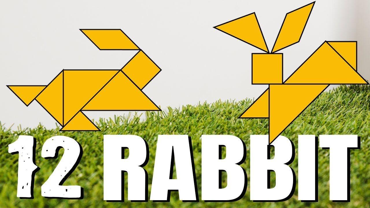 Tangram Rabbit - 12 Rabbit Shapes - Tangram For Kids || Voom destiné Tangram Lapin