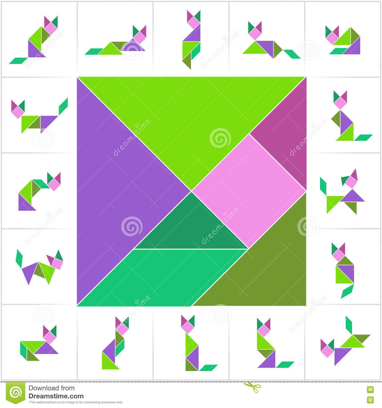 Tangram Set, Cats Stock Vector. Illustration Of Card - 72477142 concernant Tangram Chat