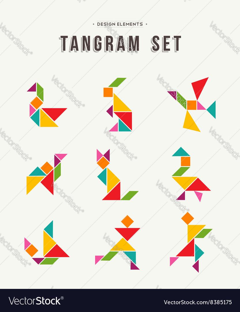 Tangram Set Creative Art Of Colorful Animal Shapes intérieur Tangram Simple