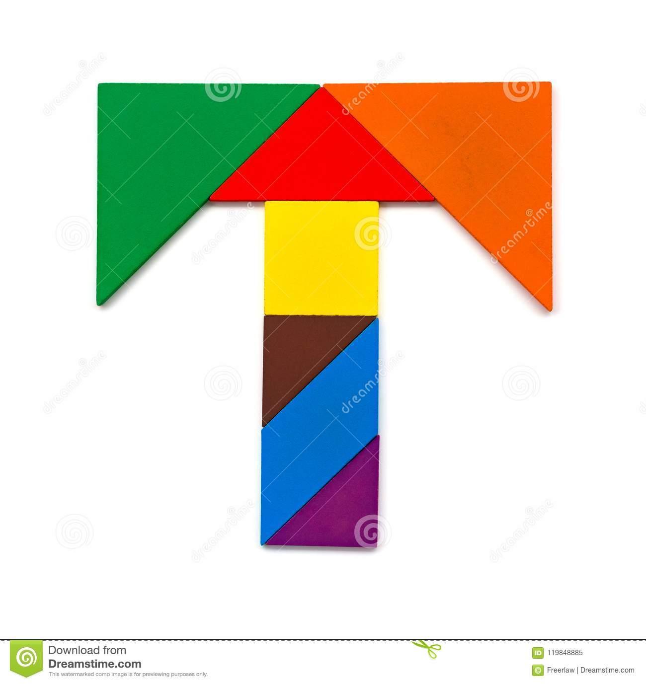 Tangram Shaped Like A Letter T On White Stock Image - Image serapportantà Tangram A Imprimer