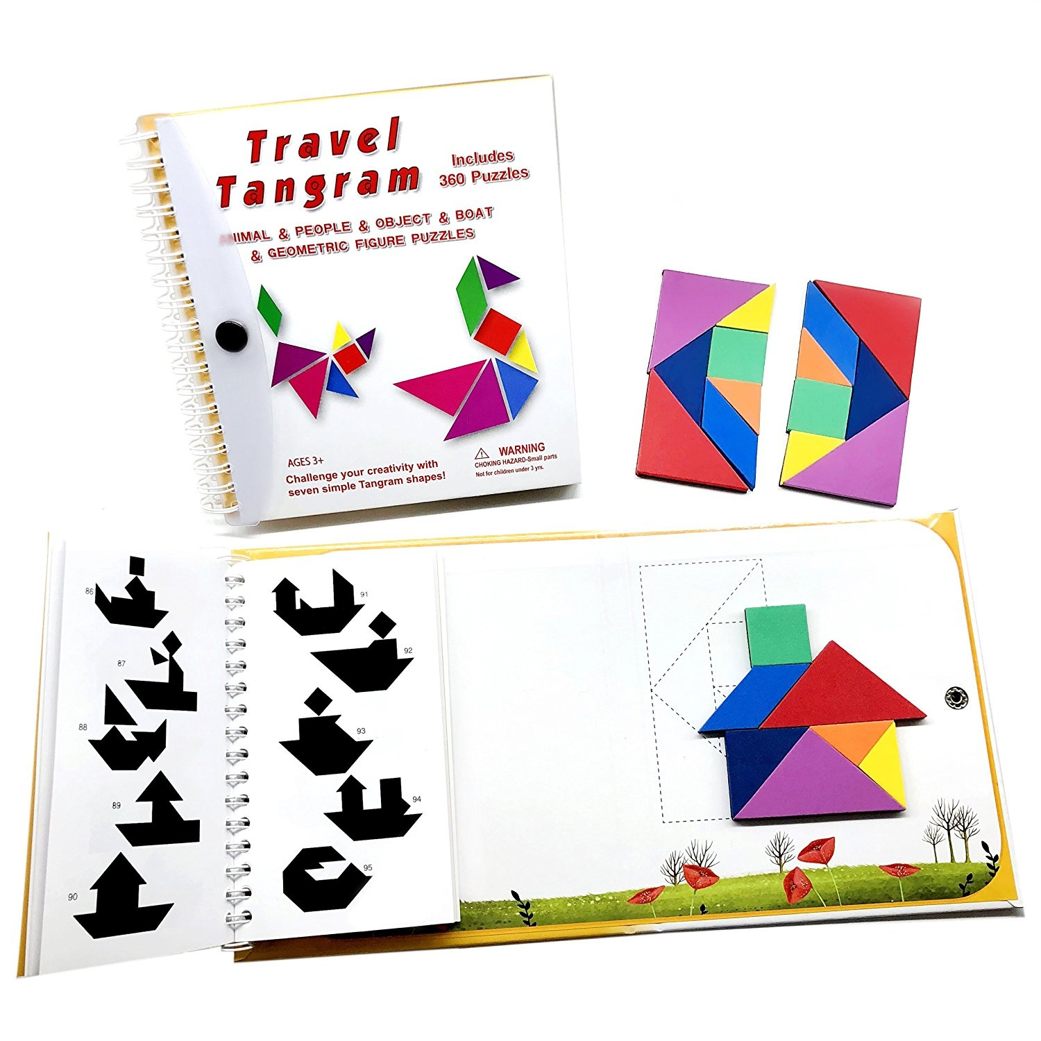 Tangram Travel Games 360 Magnetic Puzzle And Questions Build Animals People  Objects With 7 Simple Magnetic Colourful Shapes Kid Adult Challenge Iq intérieur Tangram Simple