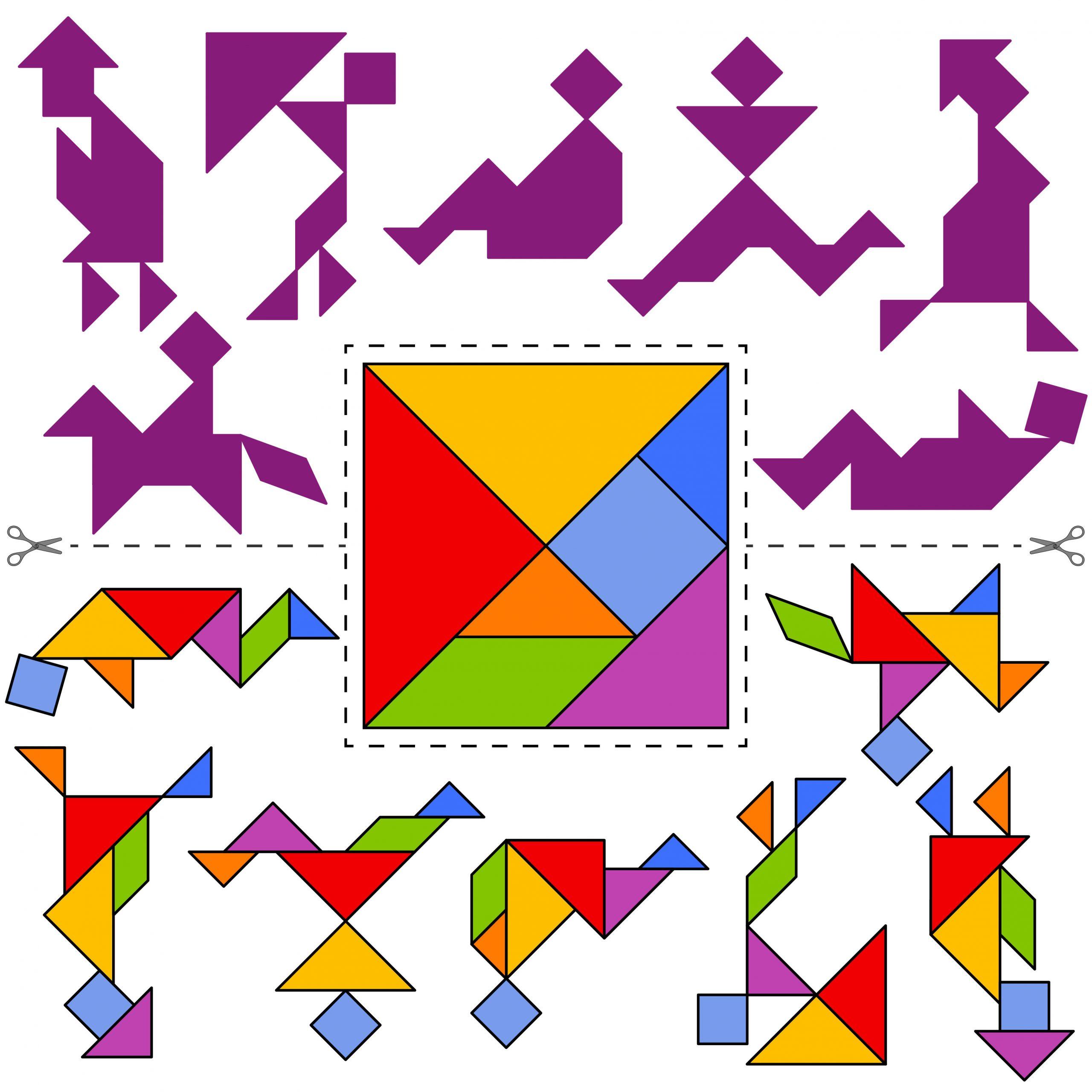 Tangrams: Artistic Silhouettes - Better Than Pi dedans Tangram Simple