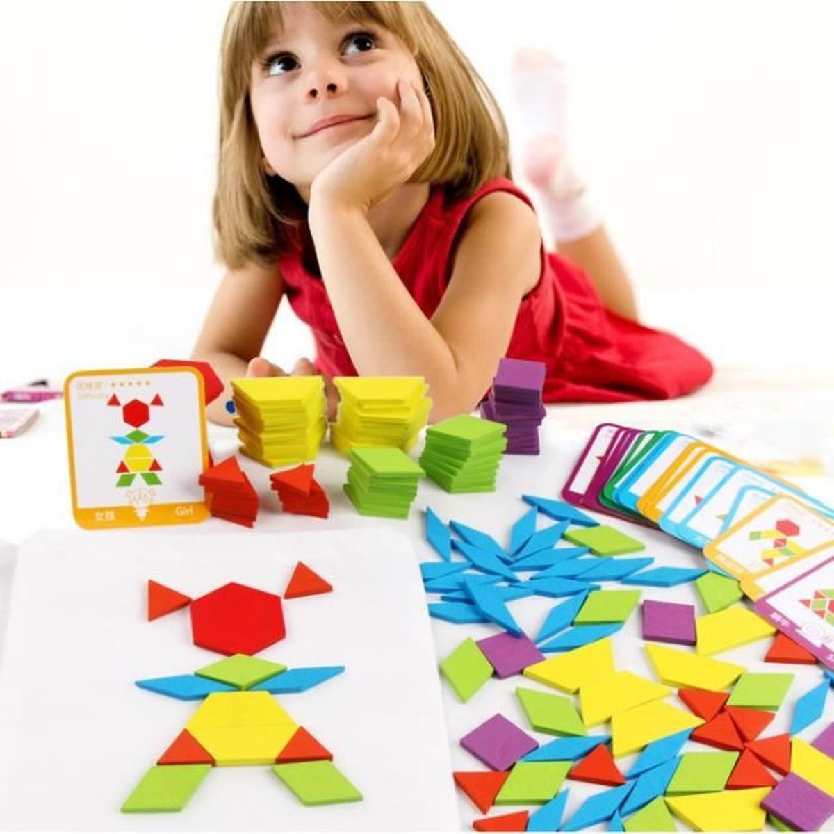 Tangrams Enfant Blocs En Bois Puzzles 155 Pcs Puzzles En pour Tangram Enfant