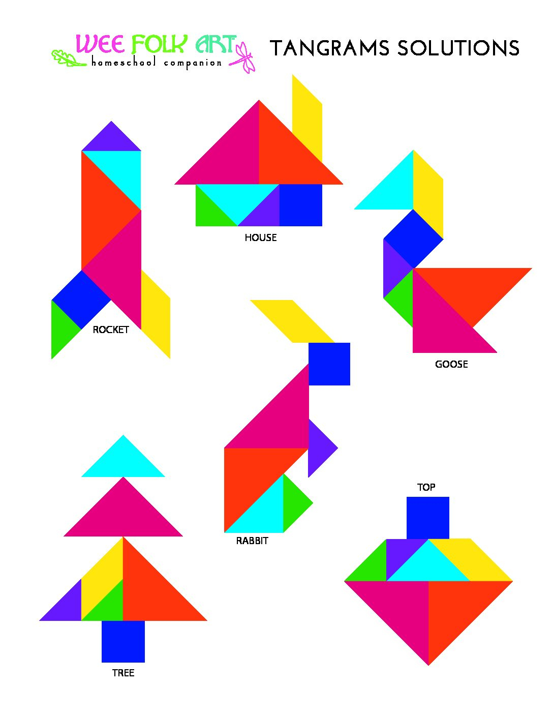 Tangrams Puzzles Solutions - Homeschool Companion à Tangram Simple