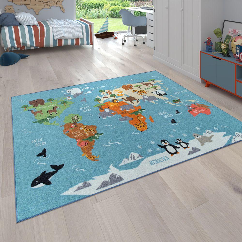 Tapis Enfant Design Carte Du Monde Animaux Coloré à Carte Du Monde Pour Enfant